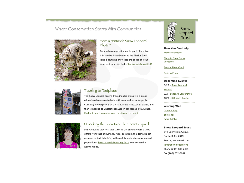 Snow Leopard Trust Email Newsletter Template